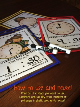 Telling Time {Reusable Clocks} Analog and Digit practice {Time Cards}