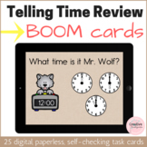 Telling Time Review Digital Task Cards with BOOM Cards for Kindergarten