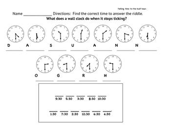 telling time hour and half hour worksheets by brook tpt. Black Bedroom Furniture Sets. Home Design Ideas