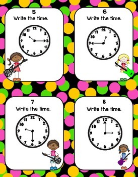 Telling Time Rock Around the Clock Task Cards