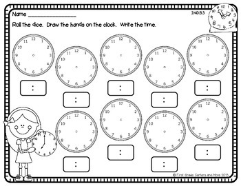 Telling Time Roll and Build 1.MD.B.3