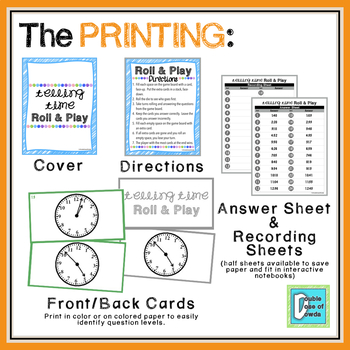 Telling Time - 1 Minute Roll & Play Dice Game