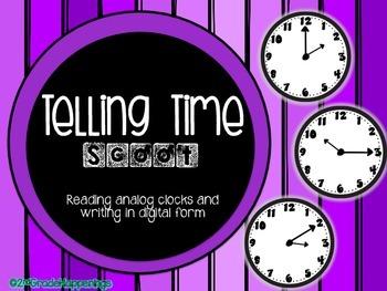 Telling Time SCOOT: Reading Analog/Writing Digital