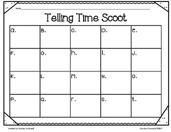 Telling Time SCOOT (to 5 minutes) with Self-Checking QR Codes