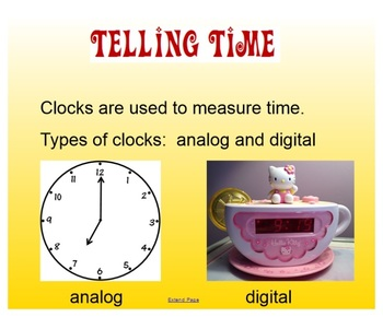 Telling Time SMARTboard Notebook File