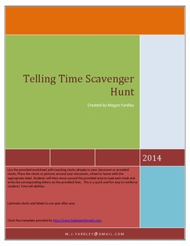 Telling Time Scavenger Hunt