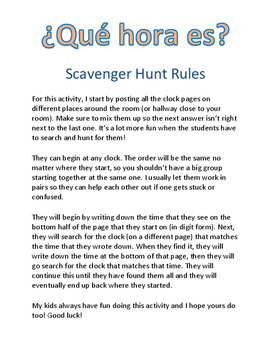 Telling Time Scavenger Hunt