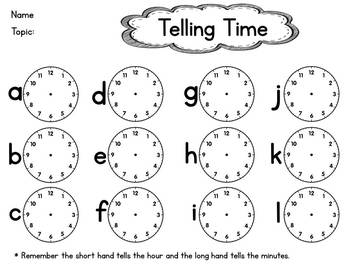 Telling Time Scavenger Hunt Activity