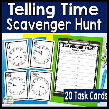 Telling Time Scavenger Hunt Activity: 20 Telling Time Task Cards