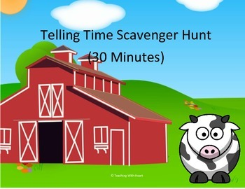 Telling Time Scavenger Hunt To the Half Hour (QR Codes)