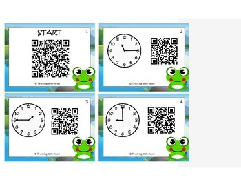 Telling Time Scavenger Hunt (To 15 Minutes) Qr Codes
