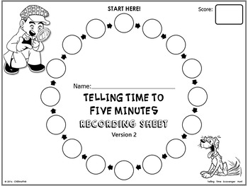 Telling Time to Five Minutes {Scavenger Hunt Activity}