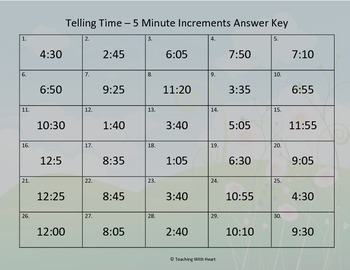 Telling Time Scoot - 5 Minutes (Telling Time Task Cards)