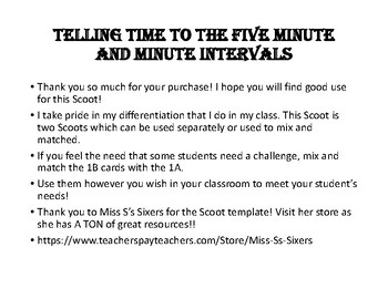 Telling Time Scoot Five Minute and Minute Intervals