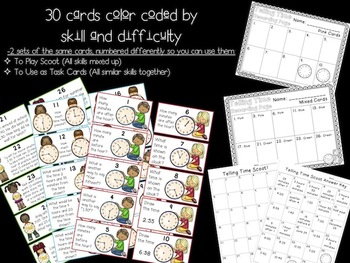 Telling Time Scoot Game and Task Cards: 3rd Grade