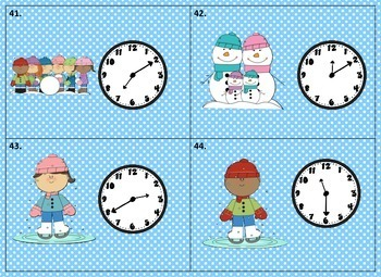 """Telling Time """"Scoot"""" Game           (five minute intervals) with Winter theme"""