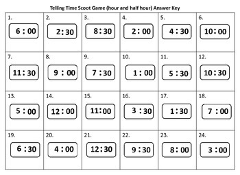 Telling Time Scoot Game (hour and half hour) Valentine's Day theme with QR Codes
