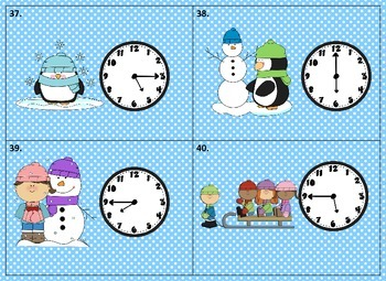 "Telling Time ""Scoot"" Game               (to the quarter hour) with Winter theme"