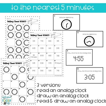 Telling Time Scoot! (Nearest 5 Minutes)