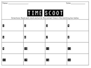 Telling Time Scoot TEKS: 2.9G