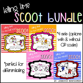 Telling Time Scoots Bundle (Time to the Hour, Half Hour, Five Minutes, & Minute)