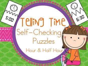 Telling Time Self Checking Puzzles- Hour and Half Hour