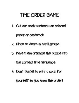 Telling Time Sequence Game