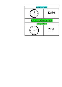 Telling Time! Services Schedule: SPED ELLS