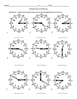 Telling Time Sheets with Labeled Hands    2.MD.7