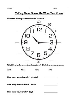"Telling Time ""Show Me What You Know"" Assessment"