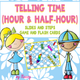 Telling Time to the Hour and Half Hour ~ Slides and Steps