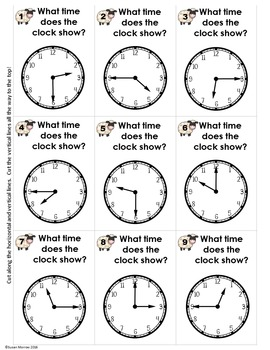 Telling Time Self Checking Math Puzzles: Slip it and Flip It Grade 1