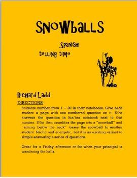 Telling Time Snowballs SPANISH