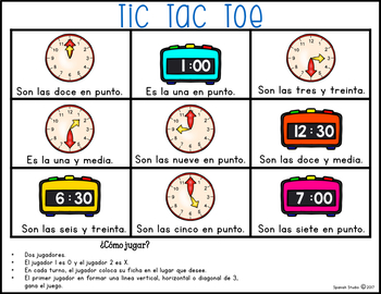 La hora/ Telling Time to the Hour and Half-hour (Spanish)