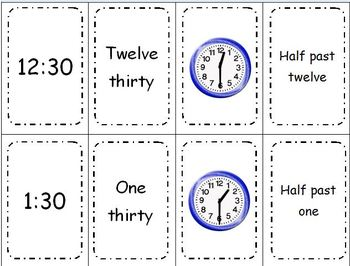 Telling Time Spoon Time Game - Telling Time to the Half Hour