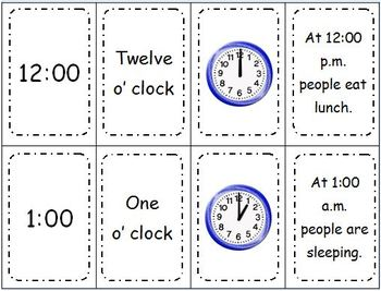 Telling Time Spoon Time Game - Telling Time to the Hour