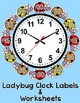 Telling Time Clock Labels - Ladybug Theme