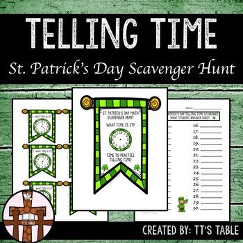 Telling Time St. Patrick's Day Scavenger Hunt