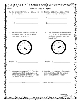 Telling Time Story Problems FREEBIE!