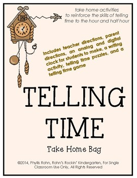 Telling Time Take Home Bag
