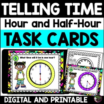 Telling Time (hour and half hour) Task Cards