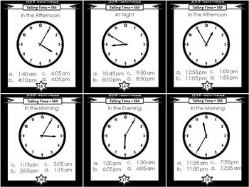 Telling Time Task Cards: 5 Minute Intervals (Practice Reading Analogue Clocks)