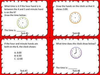 Telling Time Task Cards- 1st and 2nd Grade