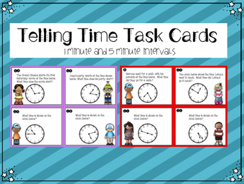 Telling Time Task Cards TEKS 2.9G , CCSS 3.MDA.1