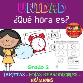 Unidad Leer el Tiempo Task Cards/Assessments/Handouts 2nd in Spanish