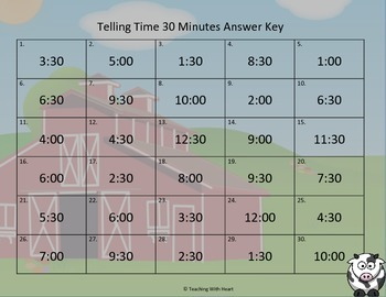Telling Time Task Cards - 30 Minutes (Telling Time Scoot)