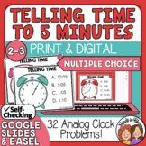 Telling Time Task Cards to 5 Minutes