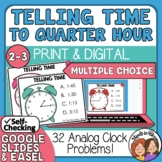 Telling Time Task Cards 32 Multiple Choice Cards, to the Quarter Hour