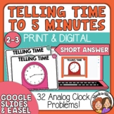 Telling Time Task Cards 32 Short Answer Cards, to 5 Minutes