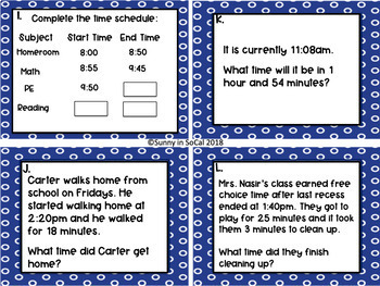 Telling Time Task Cards:  Analog to Digital
